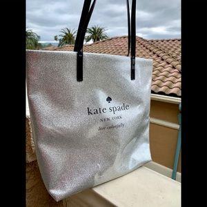 Kate Spade glitter silver tote